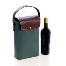 Brown Leather and Hunter Green Ultra Suede Two Bottle Holder with Magnetic Closure