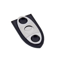 Stainless Steel Guillotine Cigar Cutter with Leather Pouch