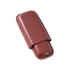 Cognac Leather Telescoping Two Cigar Case