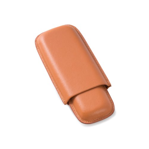 Tan Leather Telescoping Two Cigar Case