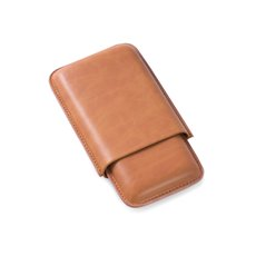 Tan Leather Telescoping Three Cigar Case