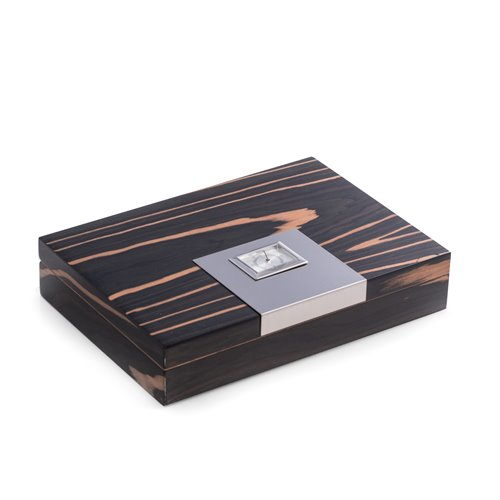Lacquered Ebony Wood 12 Cigar Humidor with Spanish Cedar Lining and Stainless Steel Accents