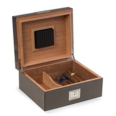 Carbon Fiber Wood Cigar Humidor with Spanish Cedar Lining Holds Up To 50 Cigars and