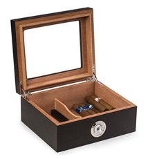 Espresso Wood Cigar Humidor with Spanish Cedar Lining and Glass See-thru Lid Holds Up To 50 Cigars and
