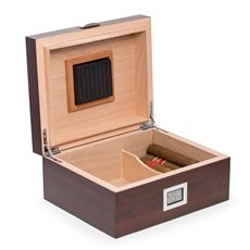 Walnut Wood Cigar Humidor with Spanish Cedar Lining Holds Up To 50 Cigars and