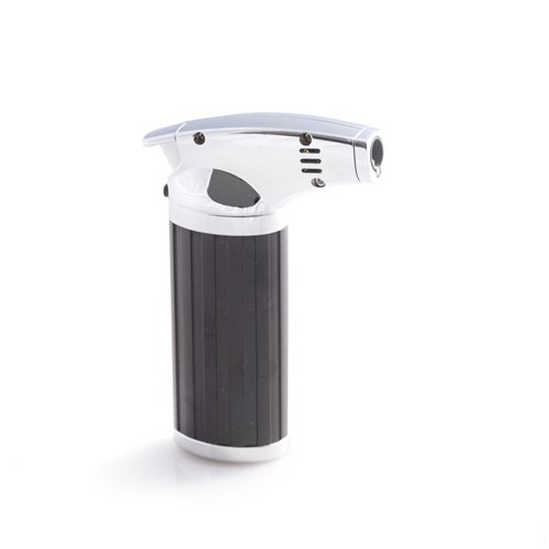 Stainless Steel and Black ABS Plastic Torch Lighter with Trigger Lock and Flame Intensity Adjusting Level