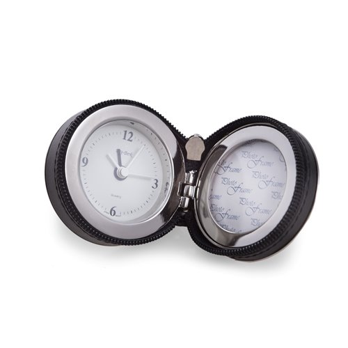 Sevan Stainless Steel and Black Leather Wrap Alarm Clock with Frame and Zipper Closure