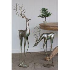Metal Deer - Antique Silver Set of 2