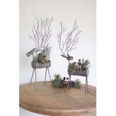 Metal Deer Planters - Rustic Grey Set of 2