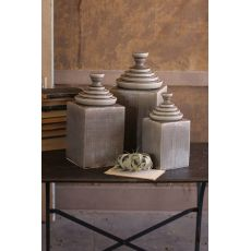 Grey Textured Ceramic Canisters With Pyramid Tops Set of 3