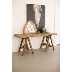 Recycled Wooden Deep Console With Sawith Horse Base