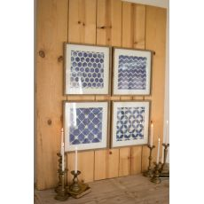 Blue Block Geometric Prints Under Glass Set of 4