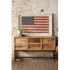 Large Framed American Flag Under Glass