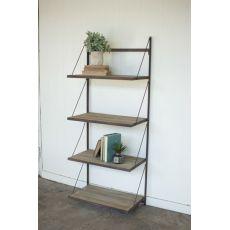 Metal And Wood Display Rack With Folding Shelves