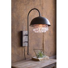 Metal Dome Wall Lamp With Hanging Glass Gems