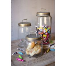 Glass Jars With Metal Lids Set of 3