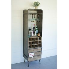 Tall Wood And Metal Wine Bar