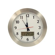 Greenwich 15 Stainless Quartz Clock with Digital Day, Date and Temperature