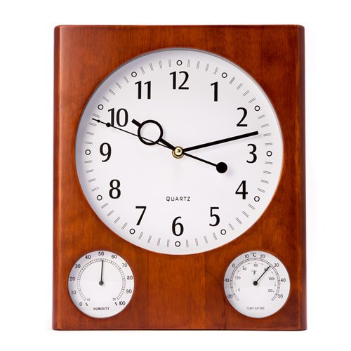 Cherry Wood Wall Clock with Thermometer and Hygrometer