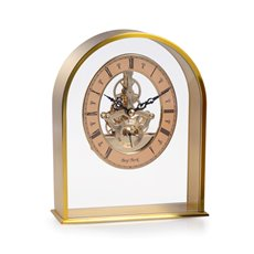Georgetown Brushed Gold Plated Quartz Clock with Skelton Movement