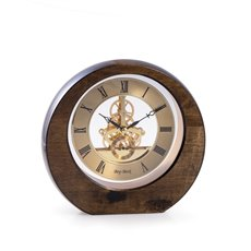 Garni Lacquered Walnut Wood and Gold Accents Quartz Clock with Skelton Movement