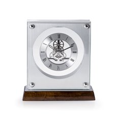 Ani Lacquered Walnut Wood and Stainless Steel Accents Quartz Clock with Skelton Movement