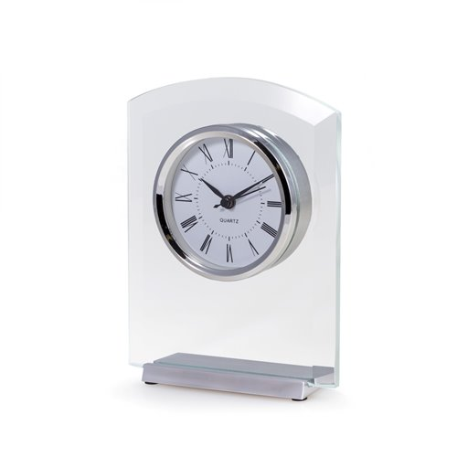Novo Beveled Glass Quartz Clock with Stainless Steel Accents