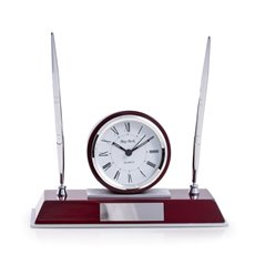 Dresden Lacquered Rosewood Quartz Desk Clock with Chrome and Stainless Steel Accents and 2 Pens