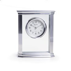 Porto Glass Quartz Clock with Stainless Steel Accents