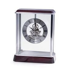 Madrid Lacquered Rosewood and Stainless Steel Accents Quartz Clock with Skelton Movement