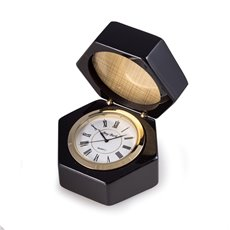 Stanford Lacquered Ebony Wood Box with Quartz Clock and Picture Frame or Engraving Plate with Brass Accents