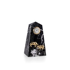 Stock Market, Black Zebra Marble Quartz Clock with Gold Accents