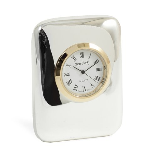 Chicago Silver Plated Quartz Clock with Gold Bezel
