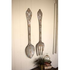 Large Metal Fork And Spoon Wall Decor Set of 2