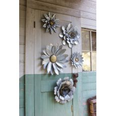 Galvanized Metal Flower Wall Hangings Set of 5