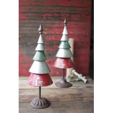 Galvanized Red And Green Metal Trees Set of Two