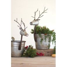 Metal Deer Planters Set of Two