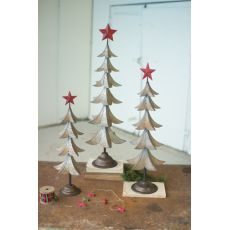 Metal Trees With Red Star Set of 3