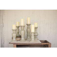 Ceramic Candle Holders - Grey Set of 6