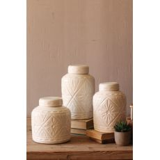 Ivory Ceramic Canisters with Geometric Pattern Set of 3
