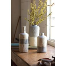 Ceramic Bottle Vases - Matte Grey And Cream Set of 3