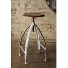 Metal Stool with Adjustable Top - Rustic Top with Antique White Base