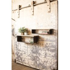 Metal And Wood Shelves Set of 2