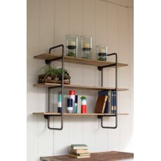Three Tiered Metal Tube Frame Wall Shelf