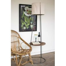 Side Table Floor Lamp With Canvas Shade