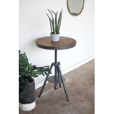Round Wood And Adjustable Metal Side Table