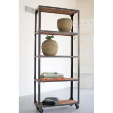Large Iron And Recycled Wood Shelving Unit
