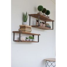 Recycled Wood And Metal Shelves Set of Two