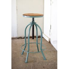 Adjust Bar Stool with Recycled Wood - Industrial Blue Finish