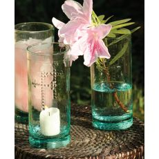 Rustic Glass Candleholder Vase Or Drinkware with Cross Detail Set of 6